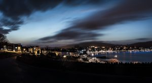 Where it all began - Nightscape of the town of Swanage, England 2015