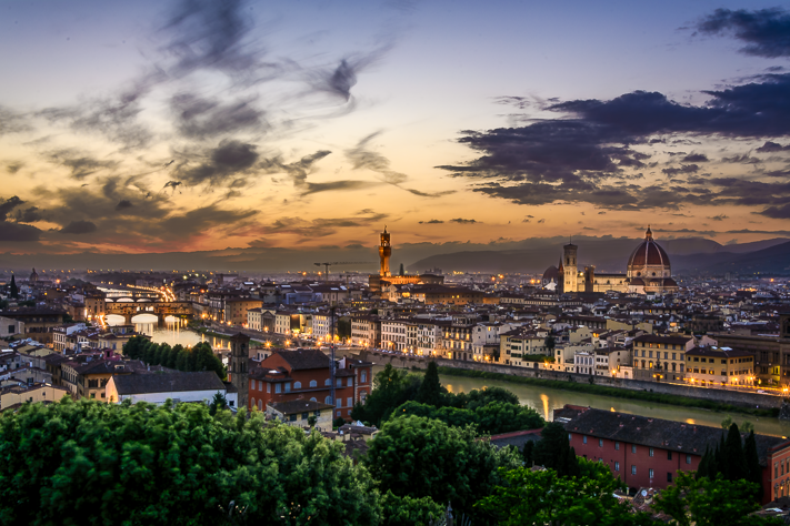 The Little Lights - the sun setting over a nightscape of Florence, Italy 2016