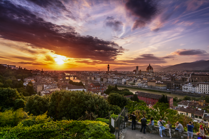 A Sunset over Florence - beautiful sunset landscape over Florence, Italy 2016