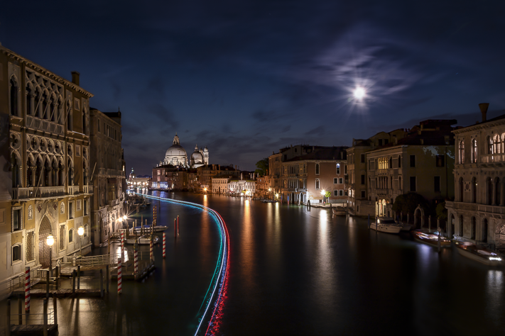 Venice by Night - Nightscape shot of light trails on the canals by the cathedral in Venice, Italy 2016