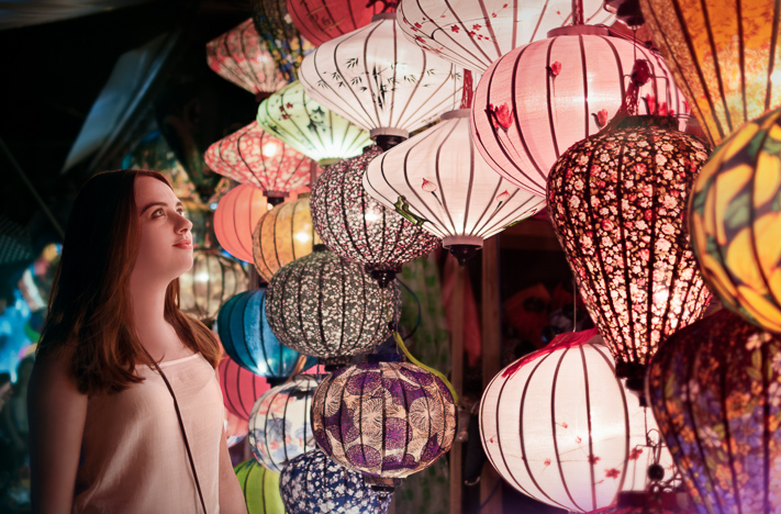 Lanterns - a lovely portrait lit by the hanging lanterns on Hoi An, Vietnam 2017