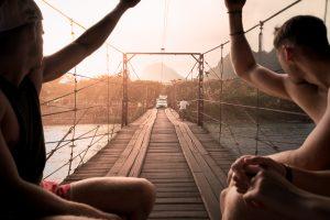 Luang Prabang - a beautiful sunset over the bridge in Laos 2017