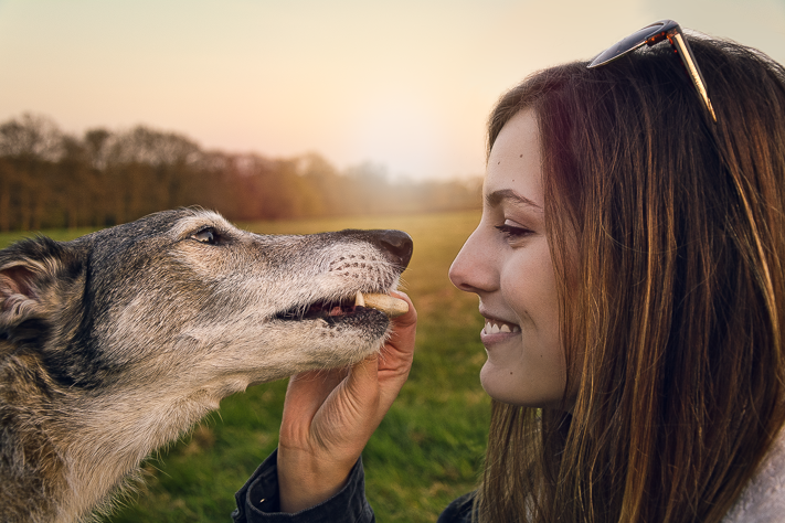 Grace and Basil - a Portrait of my girlfriend with her pet dog during a sunset in England 2017