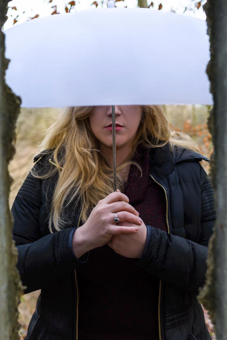Umbrella - Portrait of Sophie with an Umbrella in Frieth, England 2017