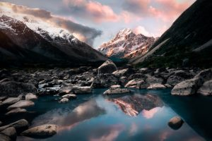 Mount Cook - The stunning mountains of New Zealand during a sunset 2018