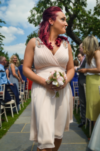The Bridesmaid - Laura walking down the aisle for her best friends wedding, in the Sanctum on the Green, Maidenhead, England 2017