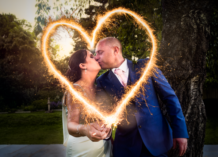 Love Spark - A lovely shot using sparklers to create a love heart for my first wedding shoot. Sanctum on the Green, Maidenhead, England 2017