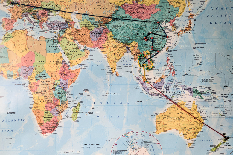 Map of my travels. Jacob Everitt Photogeraphy Travel Blog