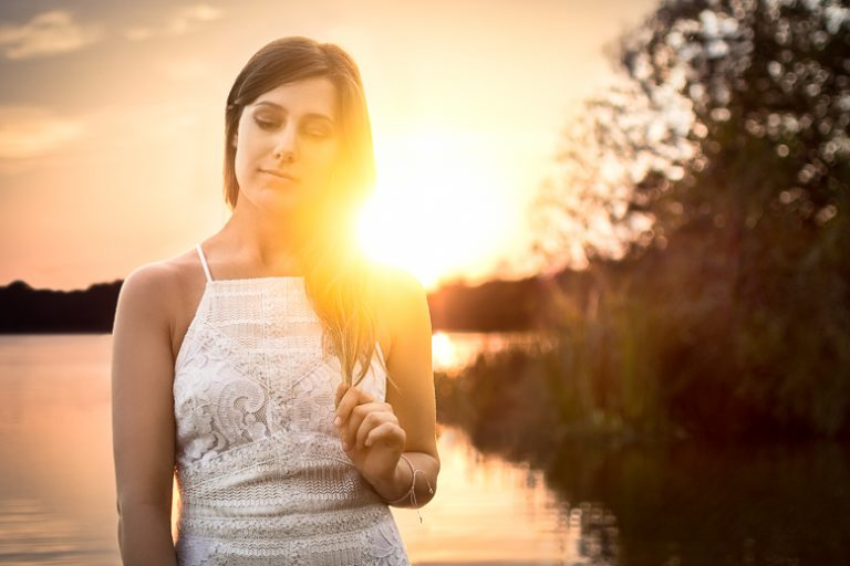 Sunset on Virginia Waters - Portrait shot of Grace at Virginia Waters, Windsor, England 2017