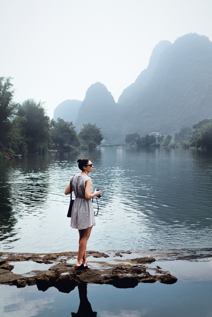 Kate's Dream - a Travel Portrait of my friend in front of the Yangshuo mountains, China 2017