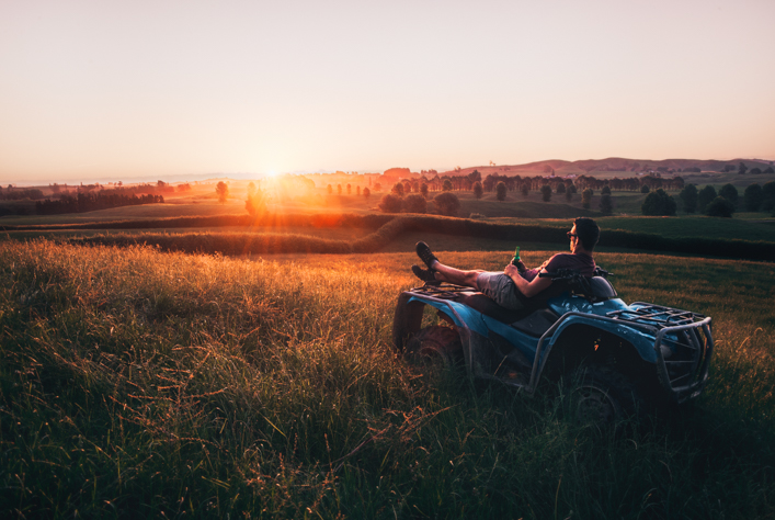 2018 Hamilton farm quad bike new zealand sunset mountains landscape jacob everitt photography-1