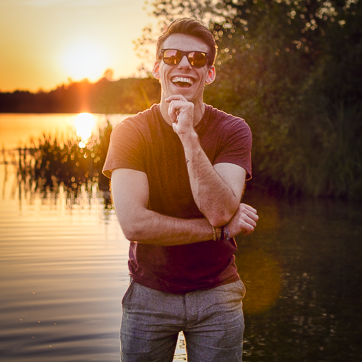 self portrait of jacob everitt during a sunset at virginia waters. windsor, england.